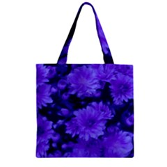 Phenomenal Blossoms Blue Zipper Grocery Tote Bags
