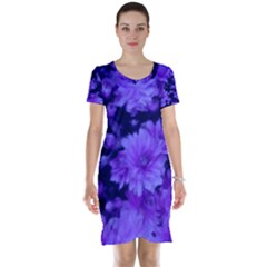 Phenomenal Blossoms Blue Short Sleeve Nightdresses