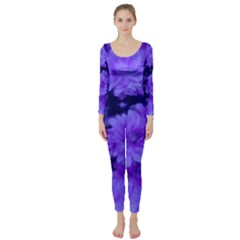 Phenomenal Blossoms Blue Long Sleeve Catsuit