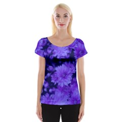 Phenomenal Blossoms Blue Women s Cap Sleeve Top