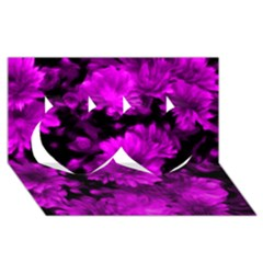 Phenomenal Blossoms Hot  Pink Twin Hearts 3d Greeting Card (8x4)