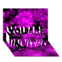 Phenomenal Blossoms Hot  Pink YOU ARE INVITED 3D Greeting Card (7x5)