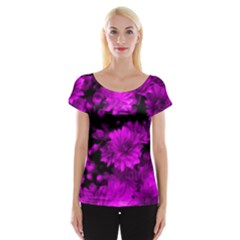 Phenomenal Blossoms Hot  Pink Women s Cap Sleeve Top