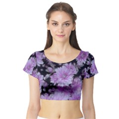 Phenomenal Blossoms Lilac Short Sleeve Crop Top