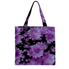 Phenomenal Blossoms Lilac Zipper Grocery Tote Bags