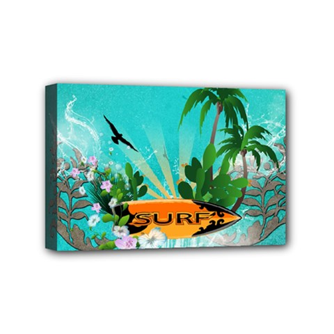 Surfboard With Palm And Flowers Mini Canvas 6  x 4
