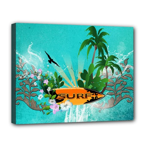 Surfboard With Palm And Flowers Canvas 14  X 11
