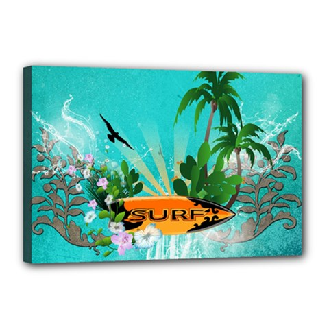 Surfboard With Palm And Flowers Canvas 18  x 12