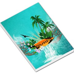 Surfboard With Palm And Flowers Large Memo Pads