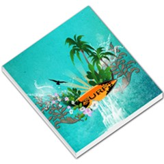 Surfboard With Palm And Flowers Small Memo Pads