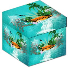 Surfboard With Palm And Flowers Storage Stool 12