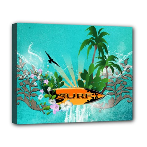 Surfboard With Palm And Flowers Deluxe Canvas 20  x 16