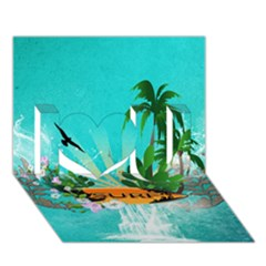 Surfboard With Palm And Flowers I Love You 3D Greeting Card (7x5)