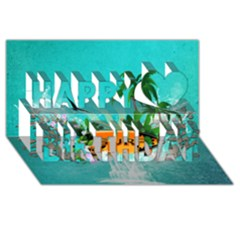 Surfboard With Palm And Flowers Happy Birthday 3D Greeting Card (8x4)