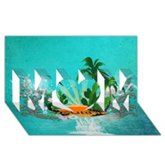Surfboard With Palm And Flowers MOM 3D Greeting Card (8x4)