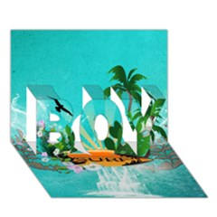 Surfboard With Palm And Flowers BOY 3D Greeting Card (7x5)
