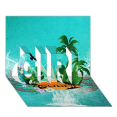 Surfboard With Palm And Flowers Girl 3d Greeting Card (7x5)