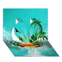 Surfboard With Palm And Flowers Heart 3D Greeting Card (7x5)