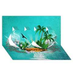 Surfboard With Palm And Flowers Twin Hearts 3D Greeting Card (8x4)