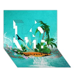 Surfboard With Palm And Flowers LOVE 3D Greeting Card (7x5)