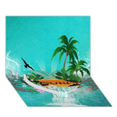 Surfboard With Palm And Flowers Heart Bottom 3d Greeting Card (7x5)