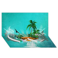 Surfboard With Palm And Flowers Twin Heart Bottom 3d Greeting Card (8x4)