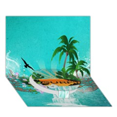 Surfboard With Palm And Flowers Circle Bottom 3d Greeting Card (7x5)