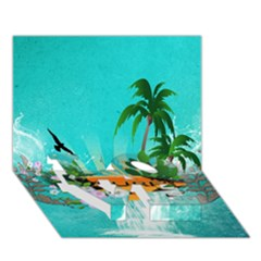 Surfboard With Palm And Flowers Love Bottom 3d Greeting Card (7x5)