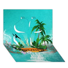 Surfboard With Palm And Flowers Clover 3d Greeting Card (7x5)