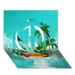 Surfboard With Palm And Flowers Peace Sign 3D Greeting Card (7x5)