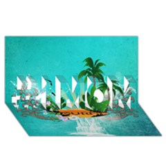 Surfboard With Palm And Flowers #1 MOM 3D Greeting Cards (8x4)