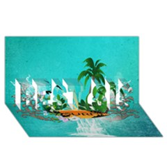 Surfboard With Palm And Flowers BEST SIS 3D Greeting Card (8x4)