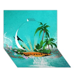 Surfboard With Palm And Flowers Circle 3D Greeting Card (7x5)