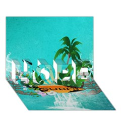 Surfboard With Palm And Flowers Hope 3d Greeting Card (7x5)