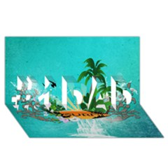 Surfboard With Palm And Flowers #1 DAD 3D Greeting Card (8x4)
