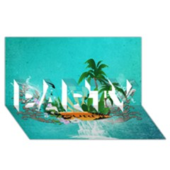 Surfboard With Palm And Flowers PARTY 3D Greeting Card (8x4)