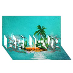 Surfboard With Palm And Flowers BELIEVE 3D Greeting Card (8x4)
