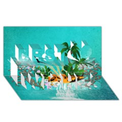Surfboard With Palm And Flowers Best Wish 3D Greeting Card (8x4)
