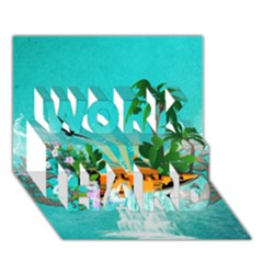 Surfboard With Palm And Flowers Work Hard 3d Greeting Card (7x5)