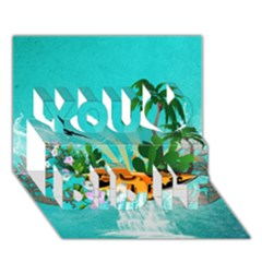 Surfboard With Palm And Flowers You Did It 3d Greeting Card (7x5)