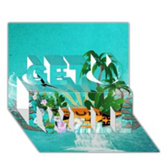 Surfboard With Palm And Flowers Get Well 3D Greeting Card (7x5)