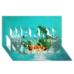 Surfboard With Palm And Flowers Merry Xmas 3D Greeting Card (8x4)
