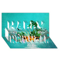 Surfboard With Palm And Flowers Happy New Year 3D Greeting Card (8x4)