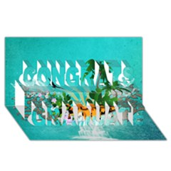 Surfboard With Palm And Flowers Congrats Graduate 3d Greeting Card (8x4)