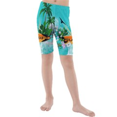 Surfboard With Palm And Flowers Kid s swimwear