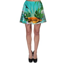 Surfboard With Palm And Flowers Skater Skirts