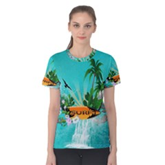 Surfboard With Palm And Flowers Women s Cotton Tees