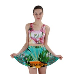 Surfboard With Palm And Flowers Mini Skirts