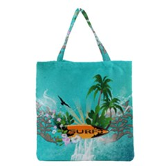 Surfboard With Palm And Flowers Grocery Tote Bags