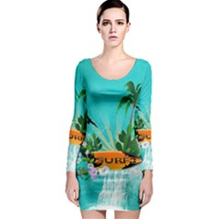 Surfboard With Palm And Flowers Long Sleeve Bodycon Dresses